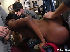 That leaves her tight, ebony cunt and wet, warm mouth in order to fend off the fellahs until she can come up with the money she owes. The mechanics are going to plow Bellah, first bending her over the huge toolbox before railing her on the auto lift! Then