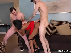 They`re going to go above and beyond the call of duty in order to impress Ivory. In other words, these two studs fuck the shit out of her! One of the studs dumps his load deep in Ivory`s hot, wet cunt; the other uses Ivory`s face as a jizz target, totally