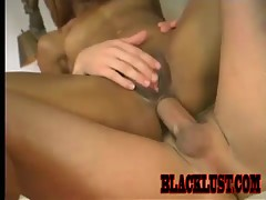 Marie Luv and Alec Knight burn up the sheets! The hot ebony cumslut goes apeshit while being plowed by white cock. She offers up her backdoor and spreads her lips wide while getting fucked!